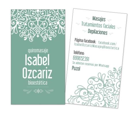 Tarjeta de visita masaje y bioestética Isabel Ozcariz