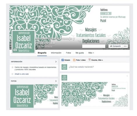 Interface página de Facebook masaje y bioestética Isabel Ozcariz